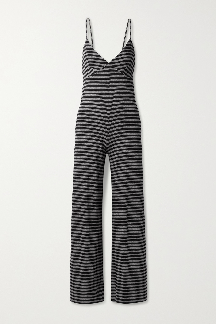 Norma Kamali Slip striped stretch-jersey jumpsuit