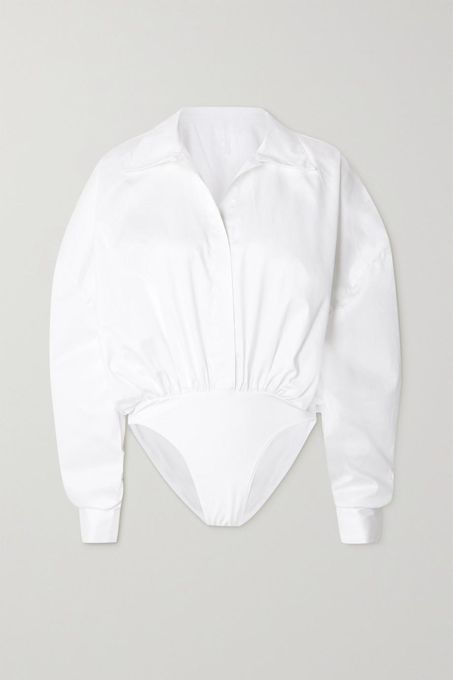 Norma Kamali Oversized cotton-poplin and jersey bodysuit