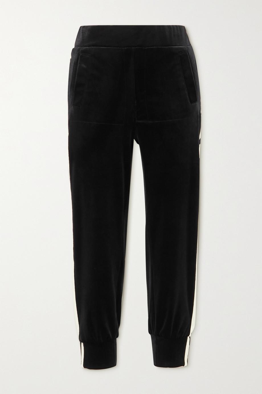 Norma Kamali Striped webbing-trimmed stretch-velvet track pants