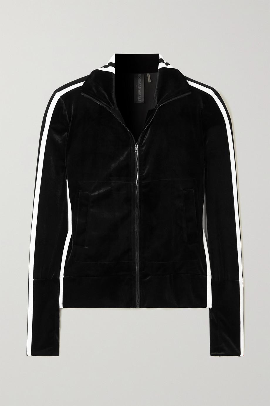 Norma Kamali Striped webbing-trimmed stretch-velvet track jacket