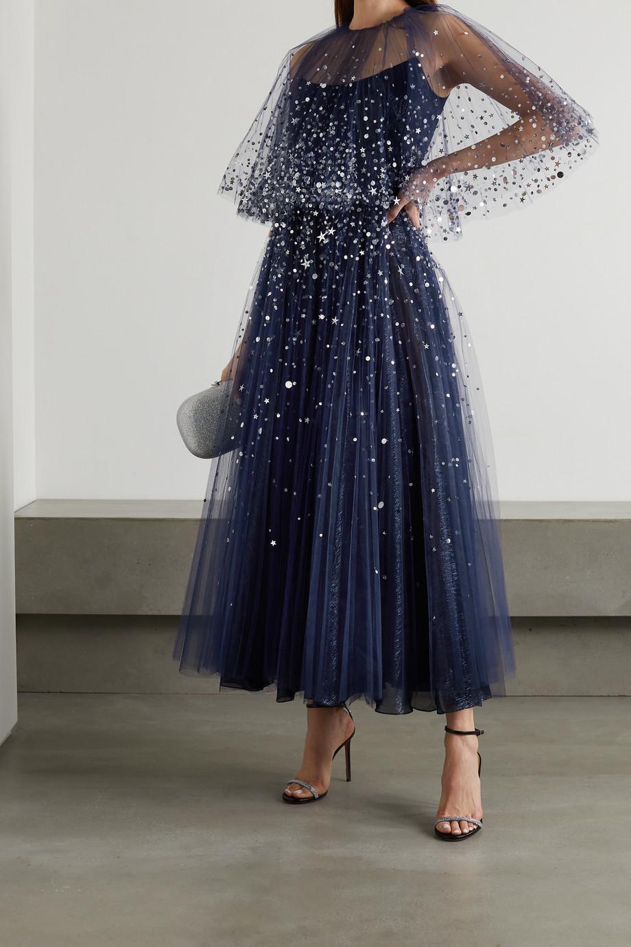 Oscar de la Renta Sequin-embellished tulle and silk-blend lamé gown