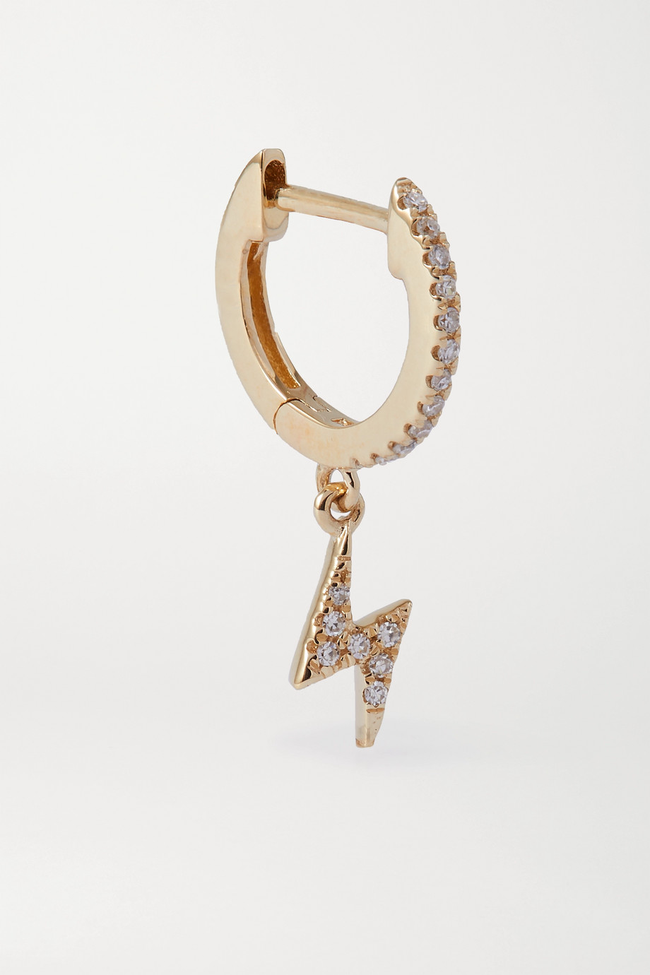 STONE AND STRAND Gold diamond hoop earring