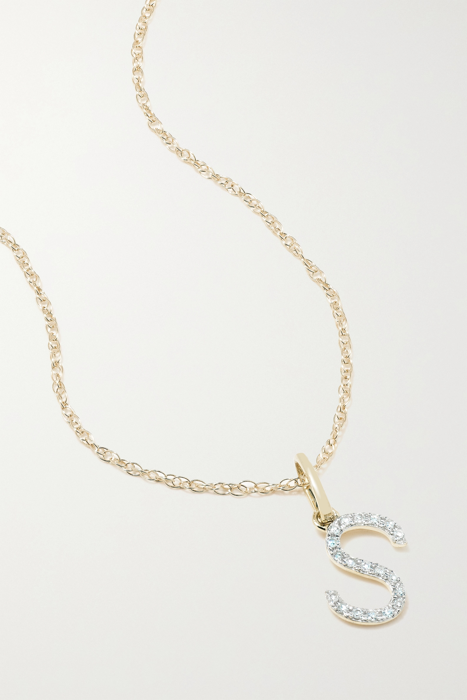 STONE AND STRAND Alphabet 9-karat gold diamond necklace