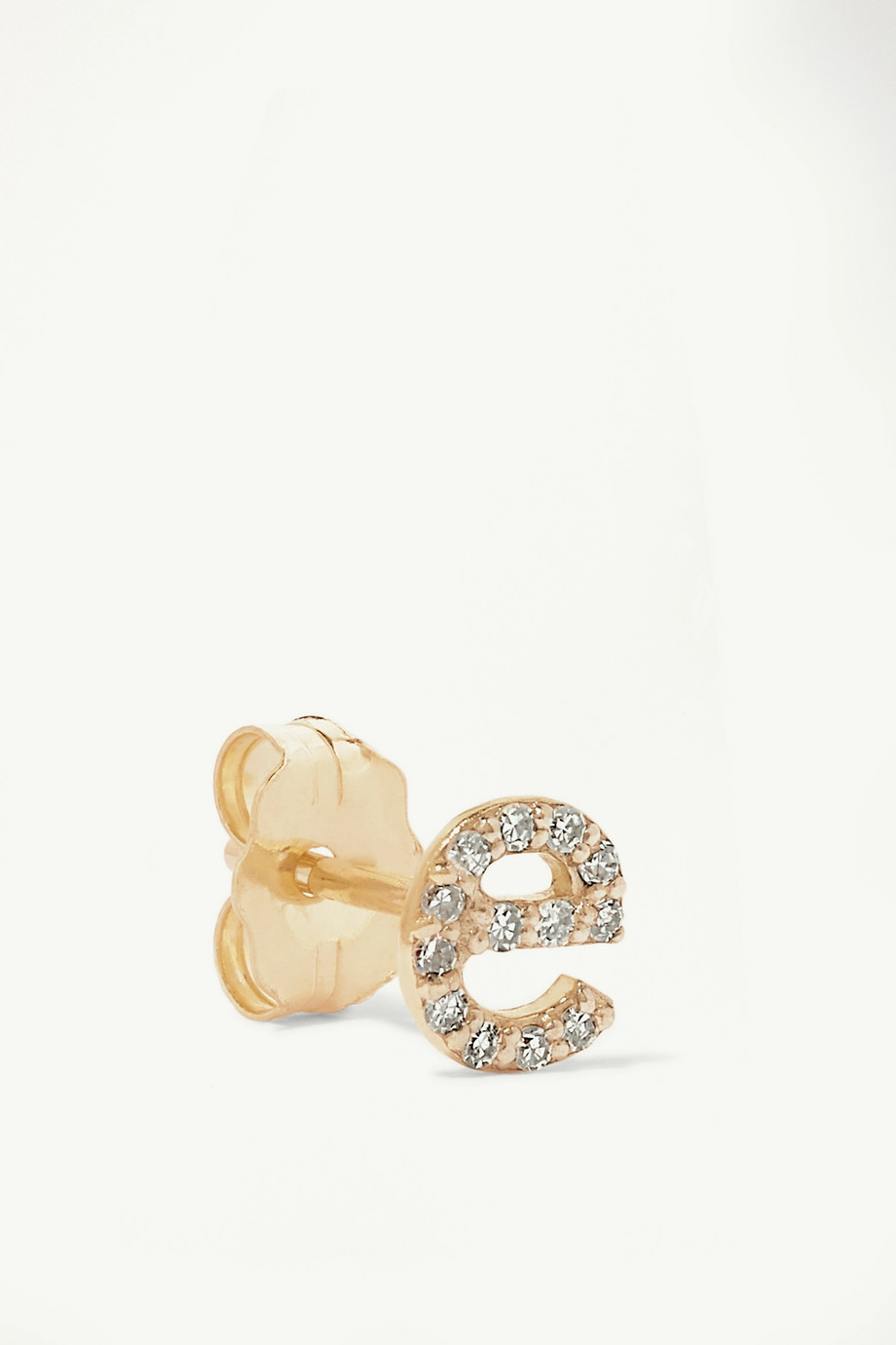 STONE AND STRAND Alphabet gold diamond earring