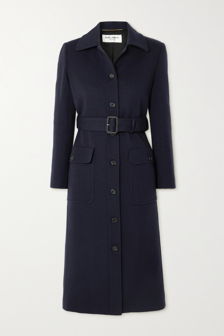 SAINT LAURENT Manteau en laine mélangée à ceinture