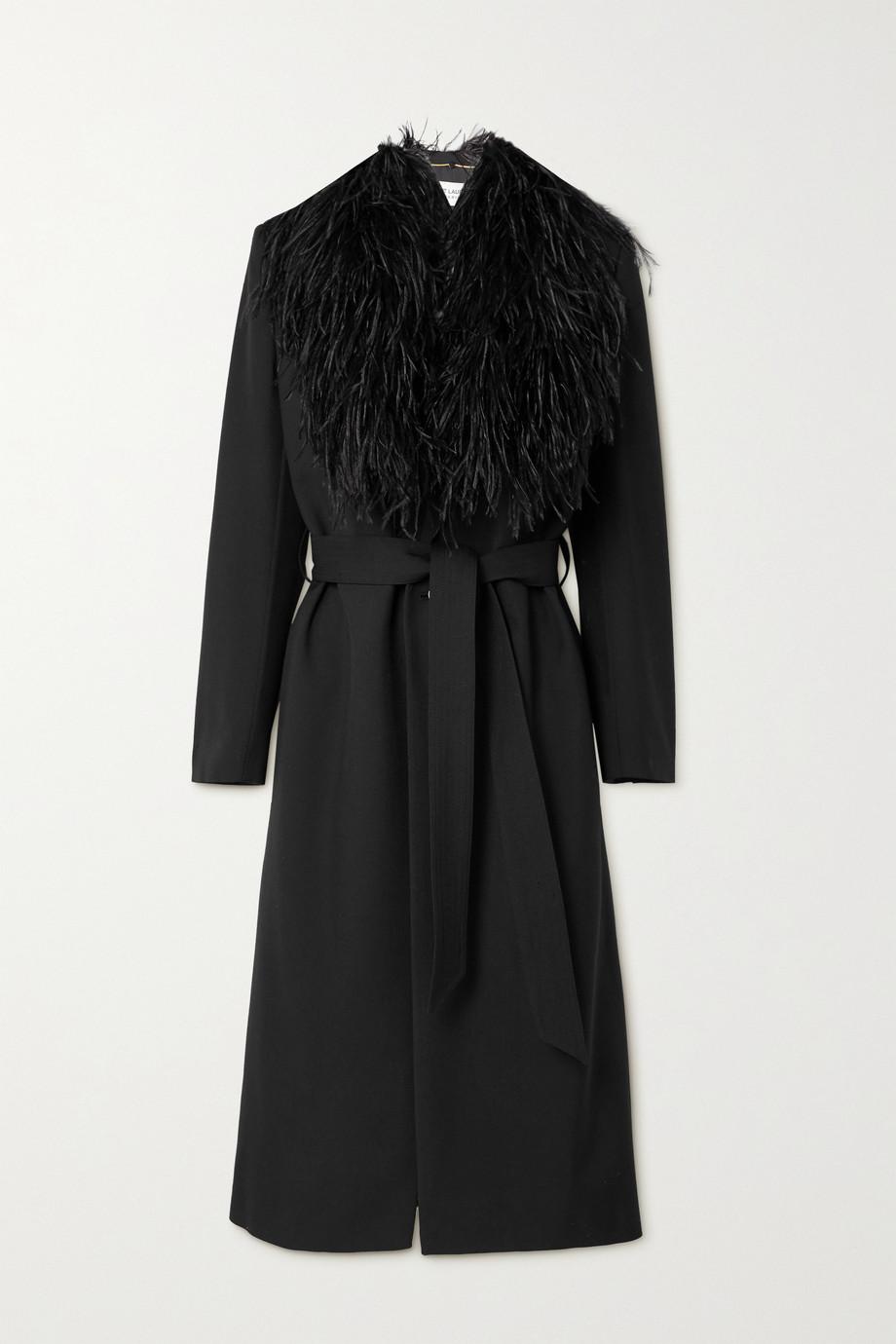 SAINT LAURENT Manteau en laine grain de poudre à finitions en plumes et à ceinture