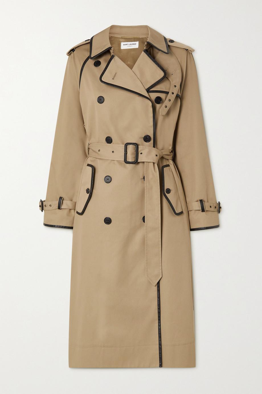 SAINT LAURENT Trench-coat en gabardine à finitions en cuir et à ceinture