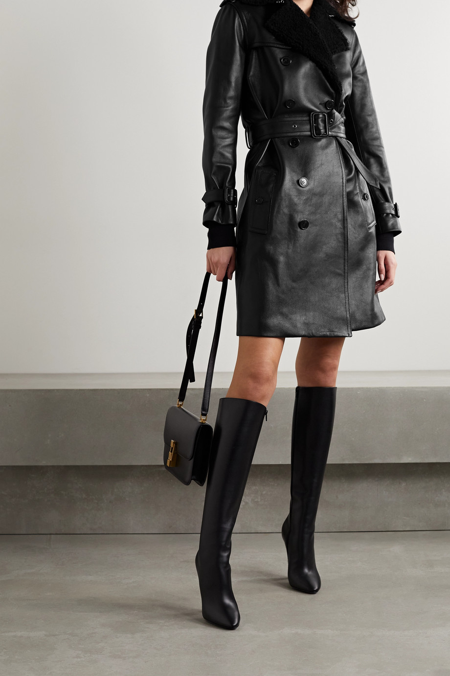 SAINT LAURENT Belted shearling-trimmed leather trench coat