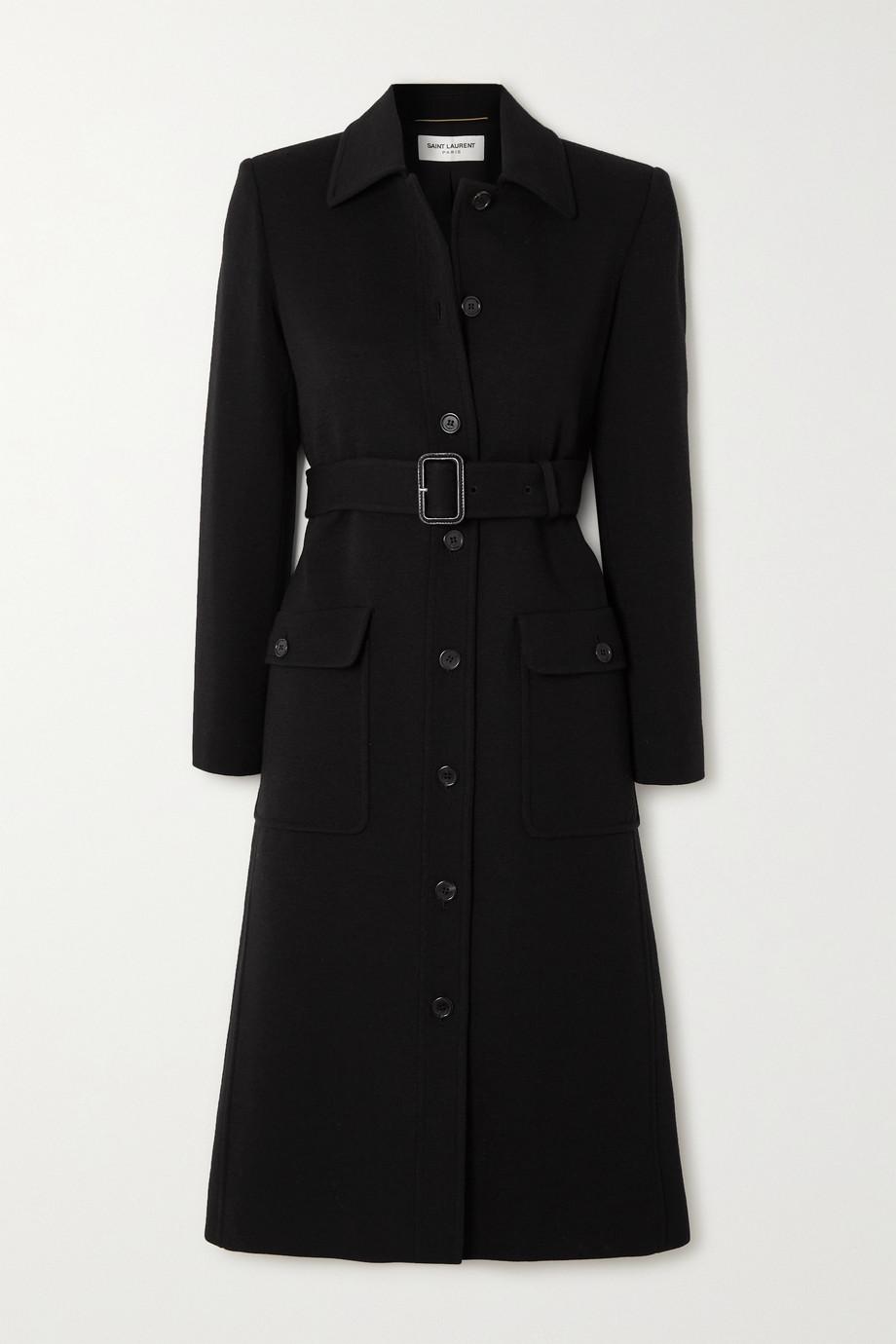 SAINT LAURENT Mantel aus einer Wollmischung mit Gürtel