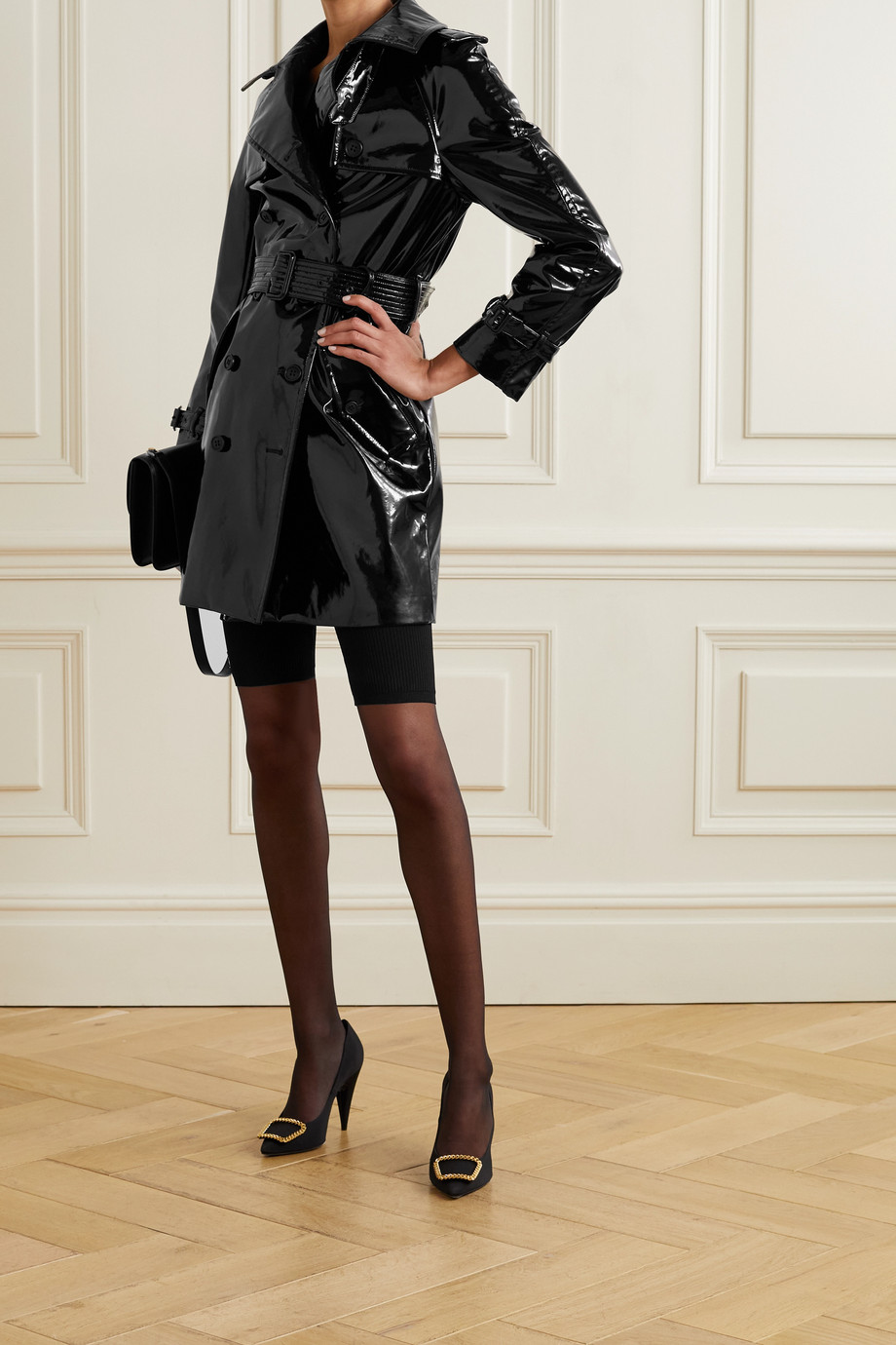 SAINT LAURENT Belted faux patent-leather trench coat