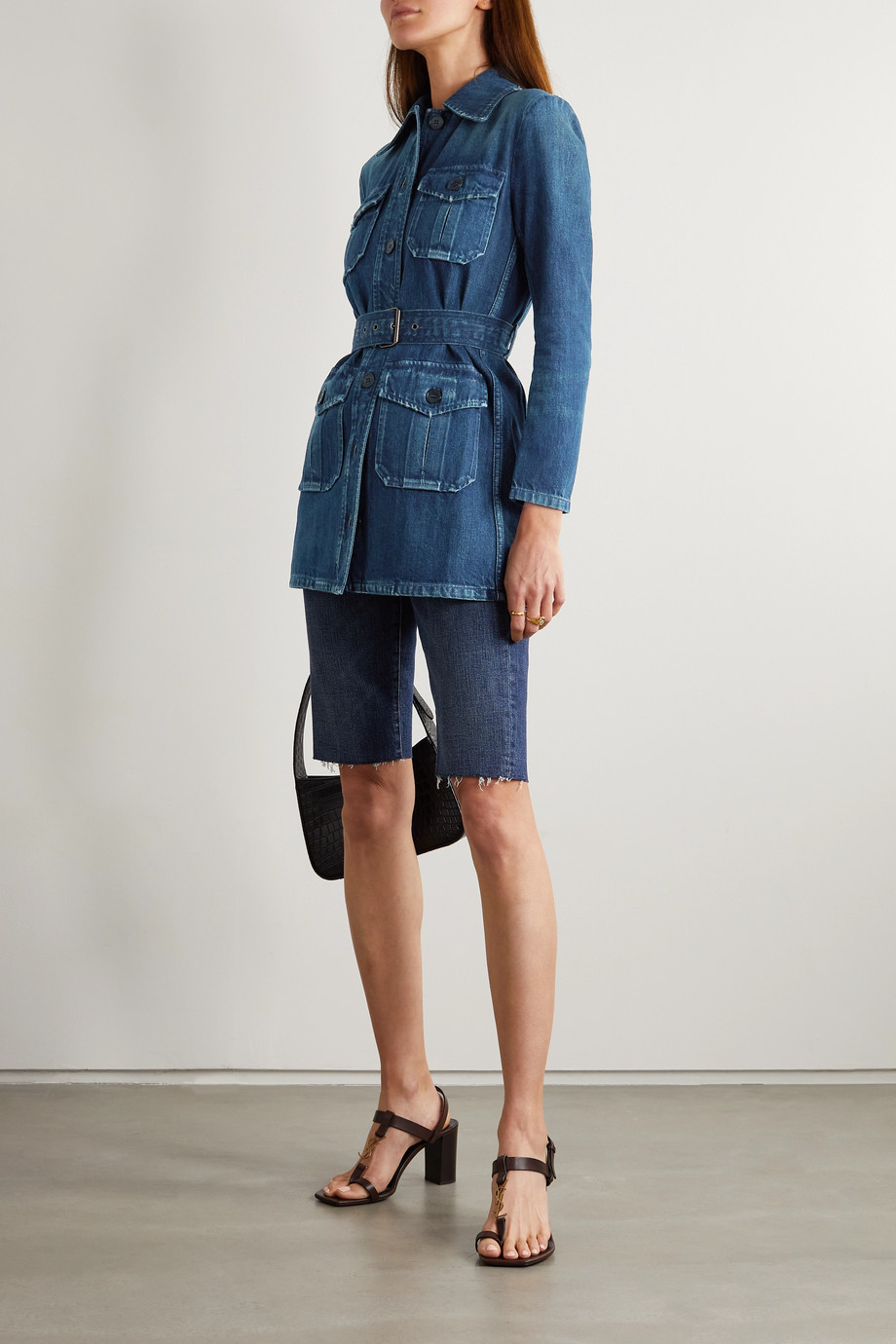 SAINT LAURENT Mini-robe en jean à ceinture
