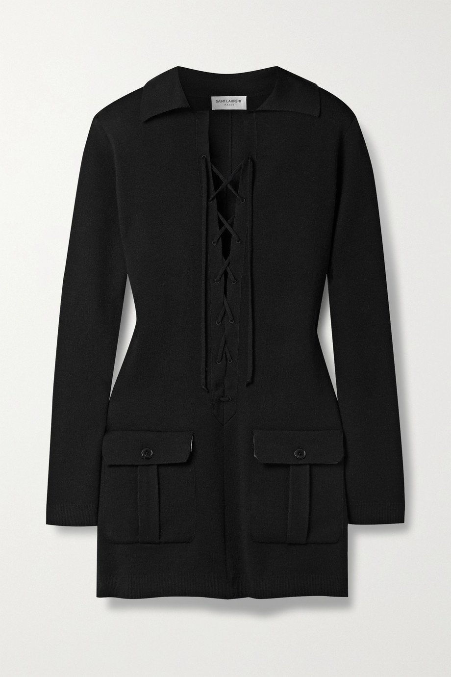 SAINT LAURENT Mini-robe en cachemire à lacets