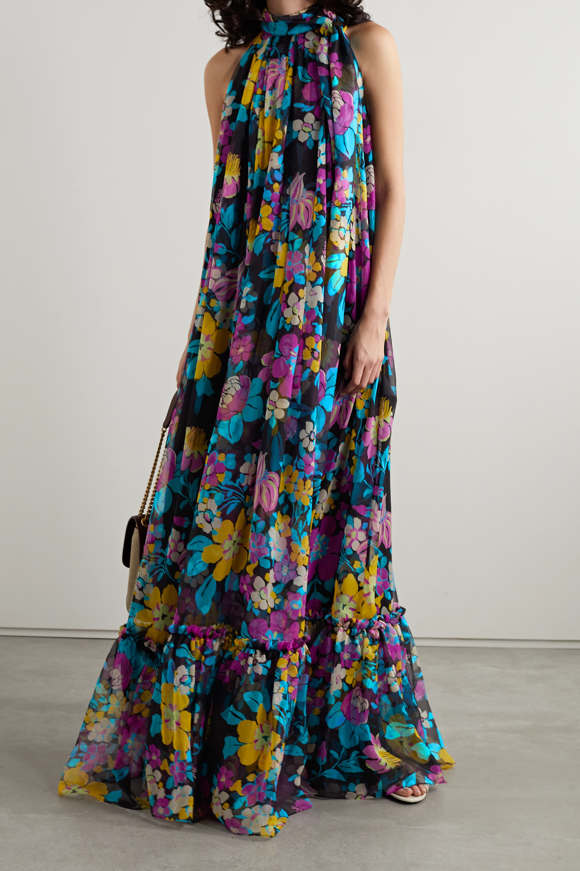 SAINT LAURENT Tie-neck floral-print silk-chiffon maxi dress