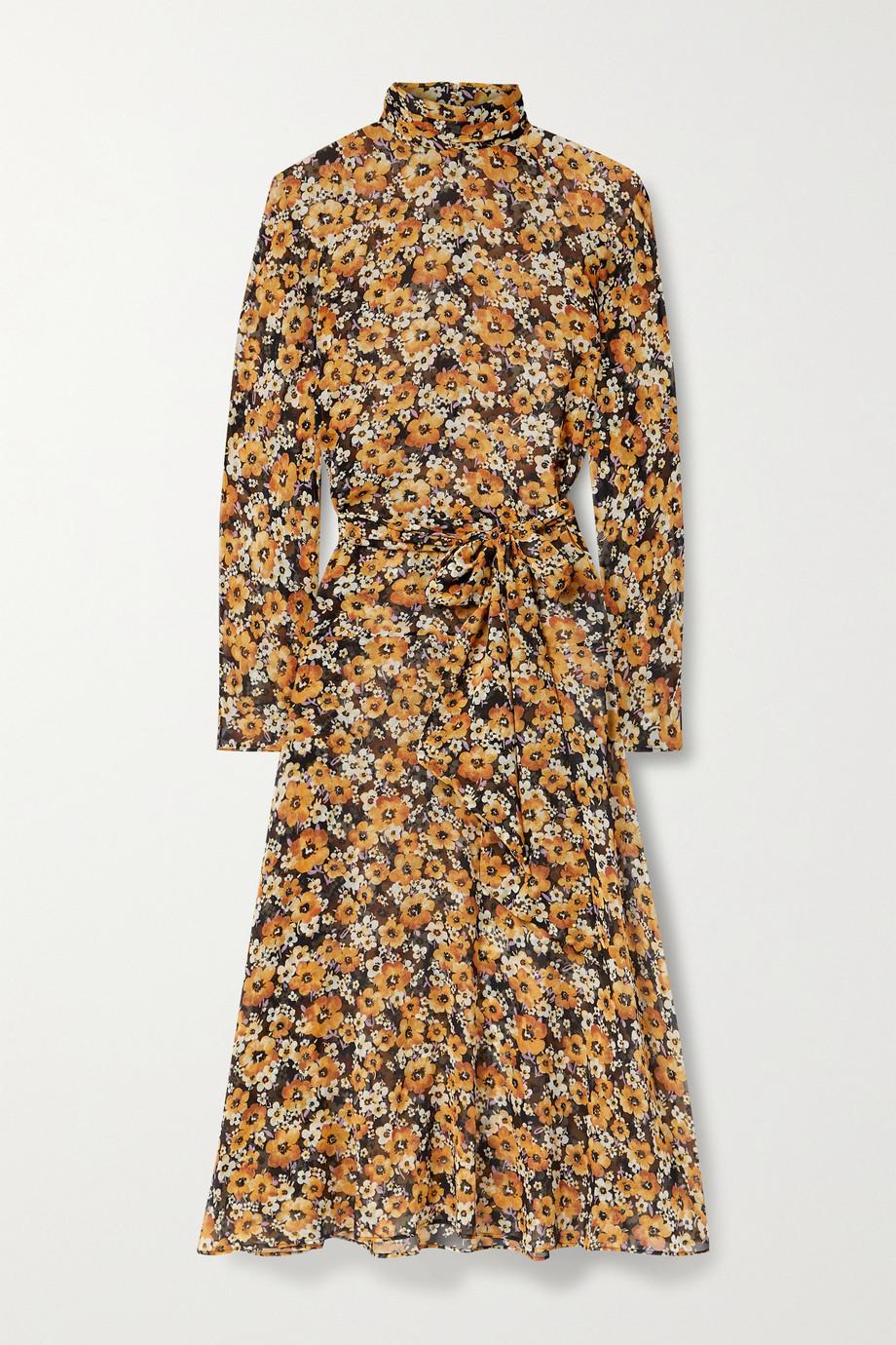 SAINT LAURENT Robe midi en mousseline de soie à imprimé fleuri et à ceinture
