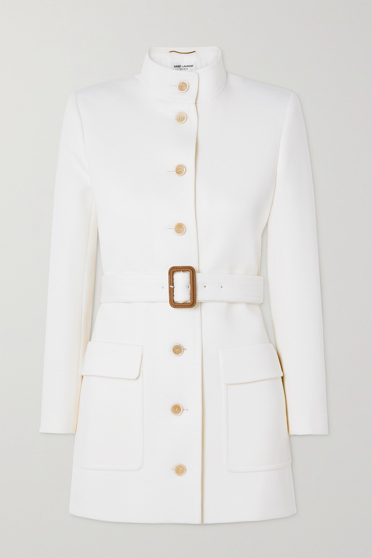 SAINT LAURENT Jacke aus Jersey aus einer Wollmischung mit Gürtel
