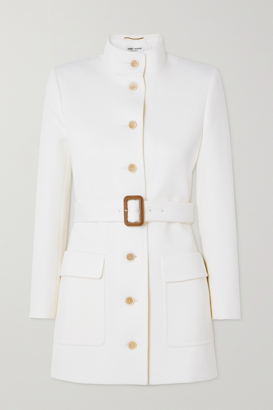 SAINT LAURENT Veste en jersey de laine mélangée à ceinture