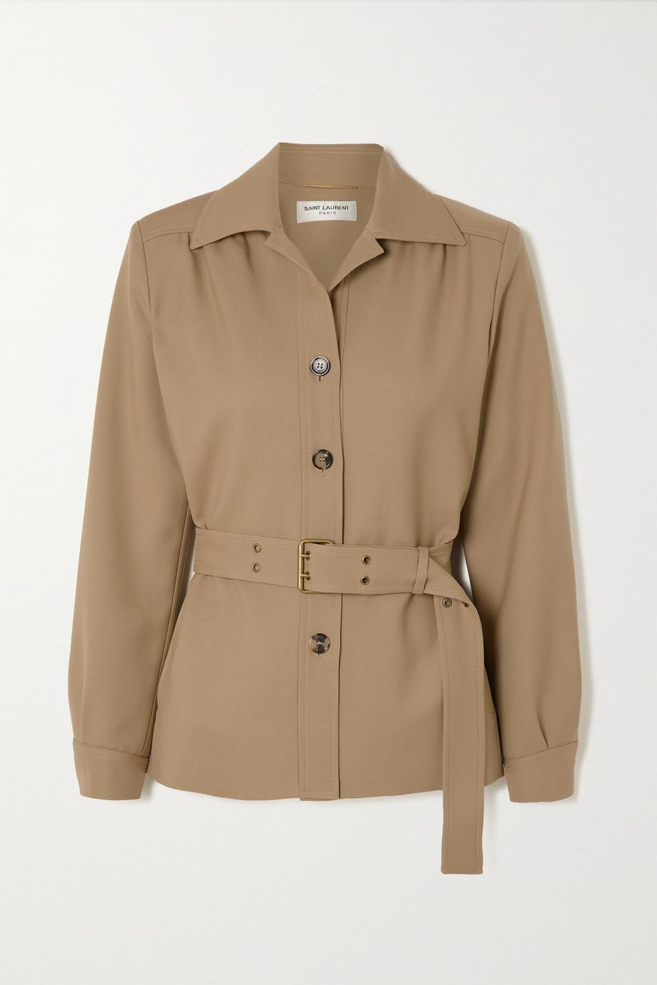 SAINT LAURENT Belted wool-twill jacket