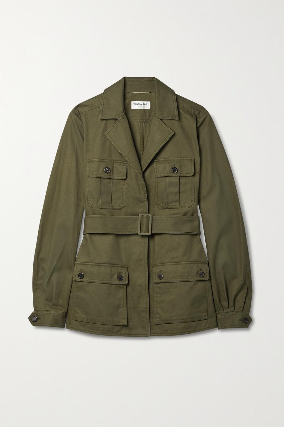 SAINT LAURENT Saharienne Jacke aus Twill aus einer Baumwoll-Ramiemischung mit Gürtel
