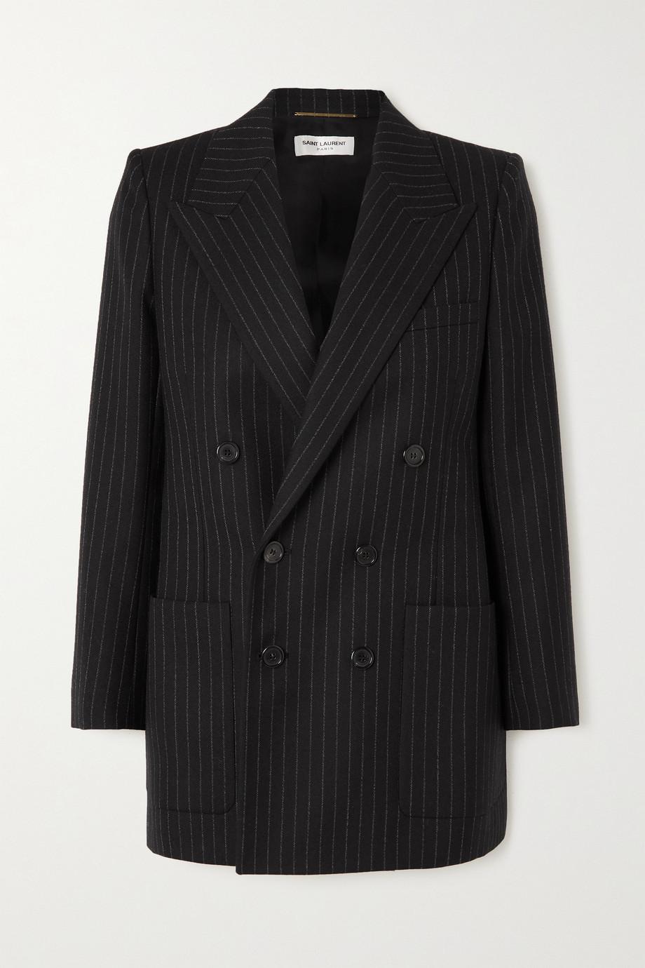 SAINT LAURENT Doppelreihiger Blazer aus Wolle mit Nadelstreifen