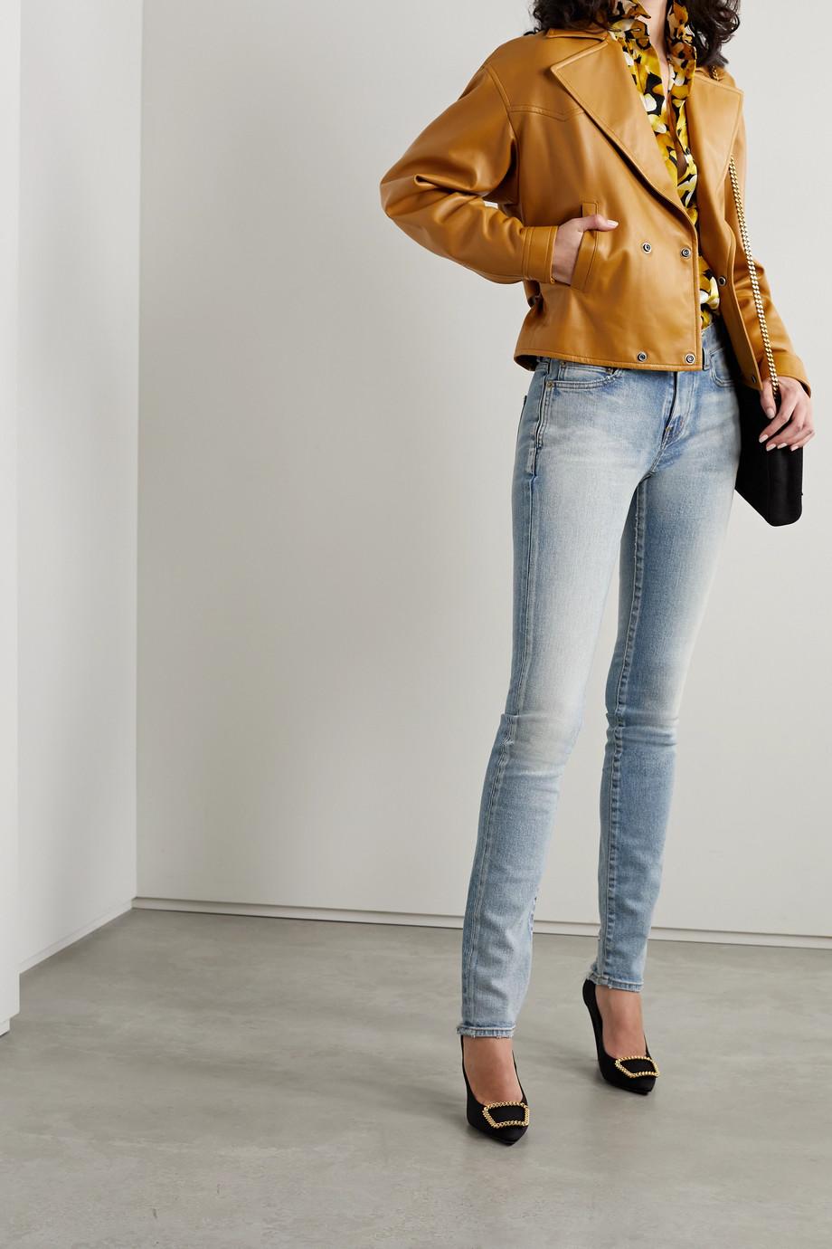SAINT LAURENT Belted leather biker jacket