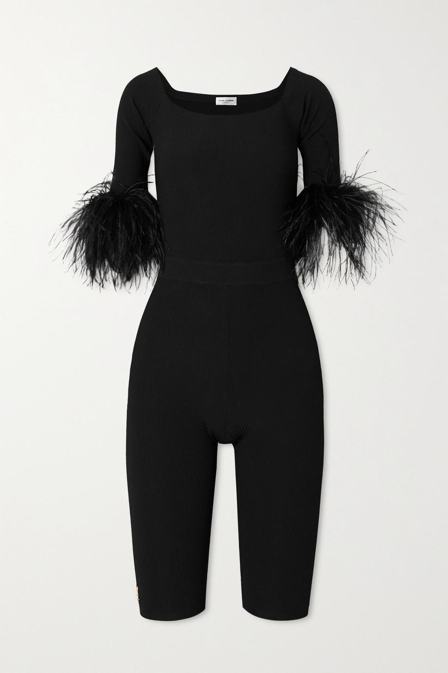 SAINT LAURENT Feather-trimmed stretch-knit playsuit