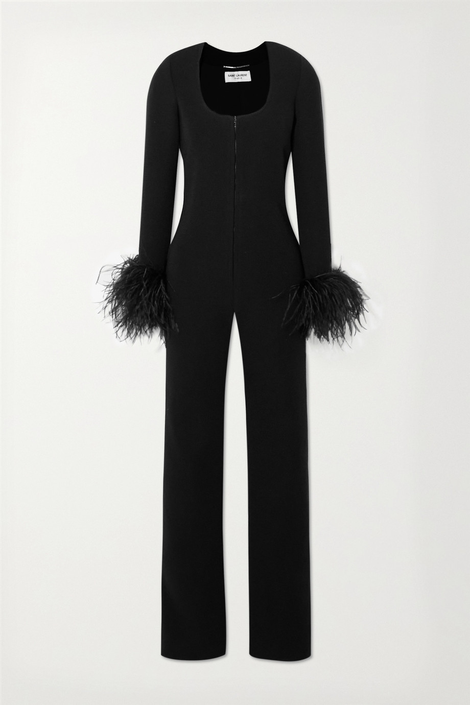 SAINT LAURENT Combi-pantalon en laine mélangée à plumes