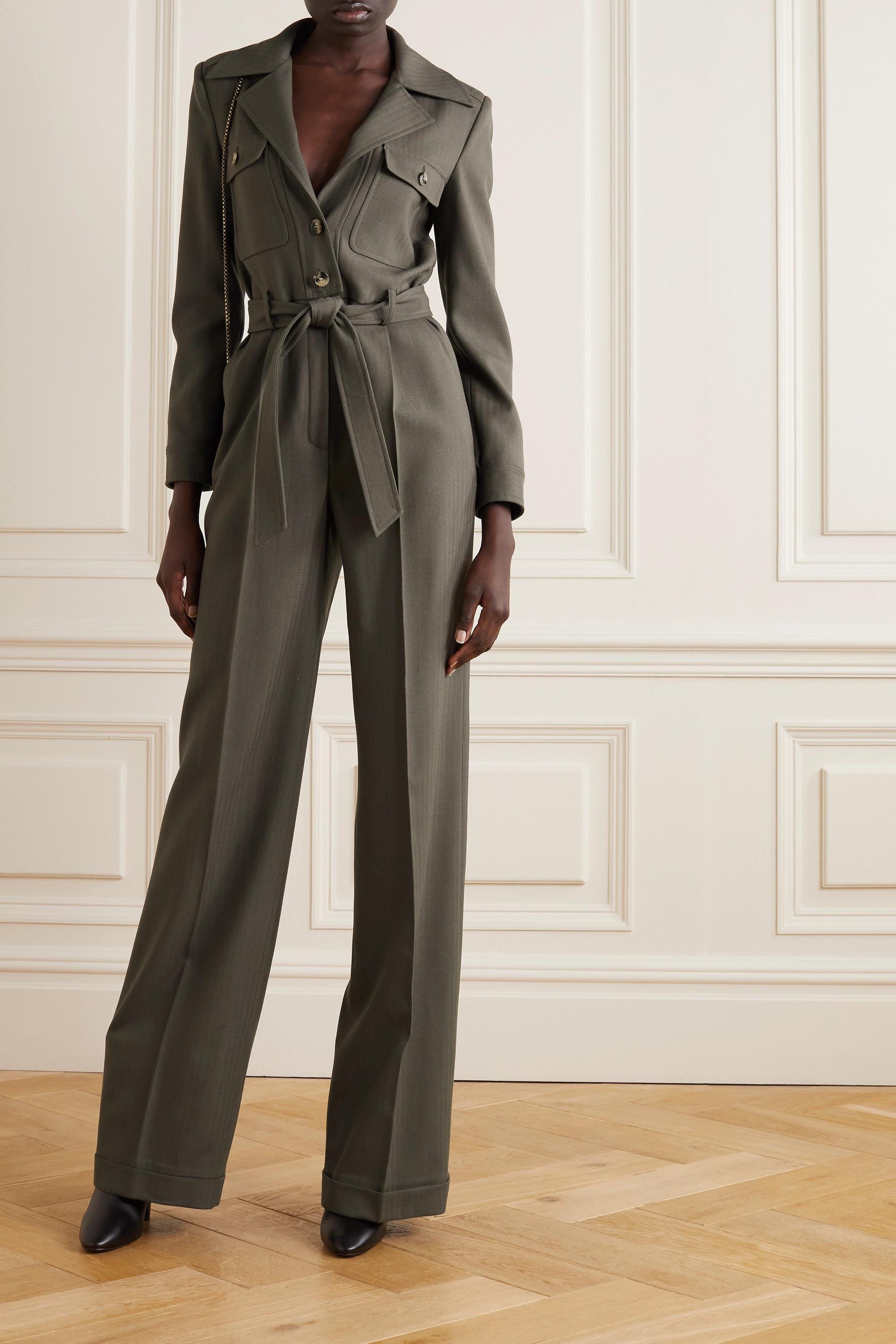 SAINT LAURENT Combi-pantalon en laine à chevrons et à ceinture