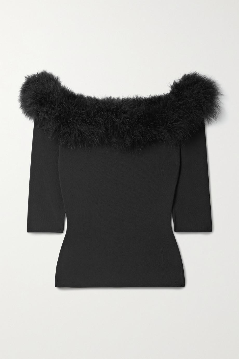 SAINT LAURENT Feather-trimmed stretch-knit top
