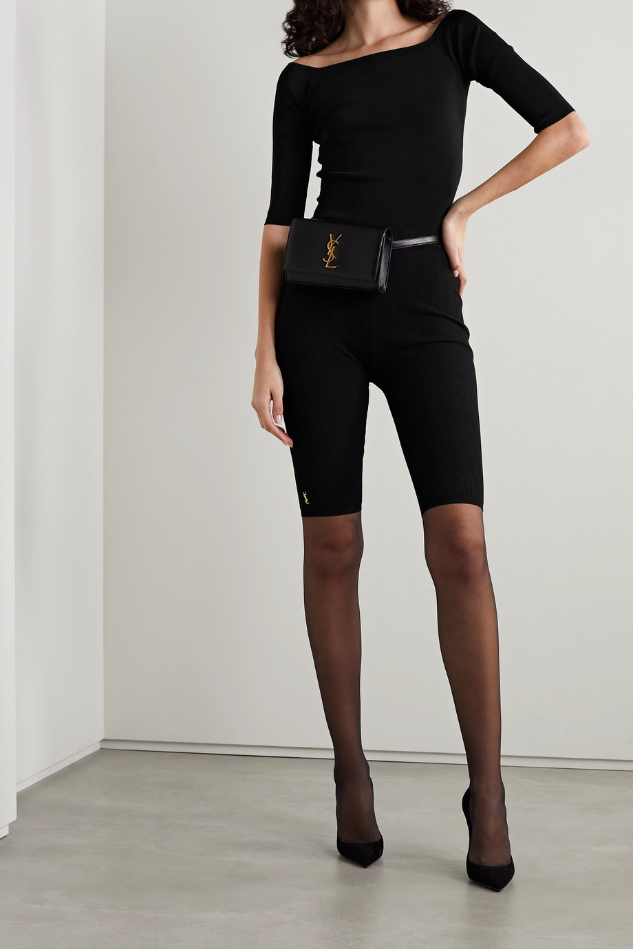 SAINT LAURENT Ribbed stretch-jersey top