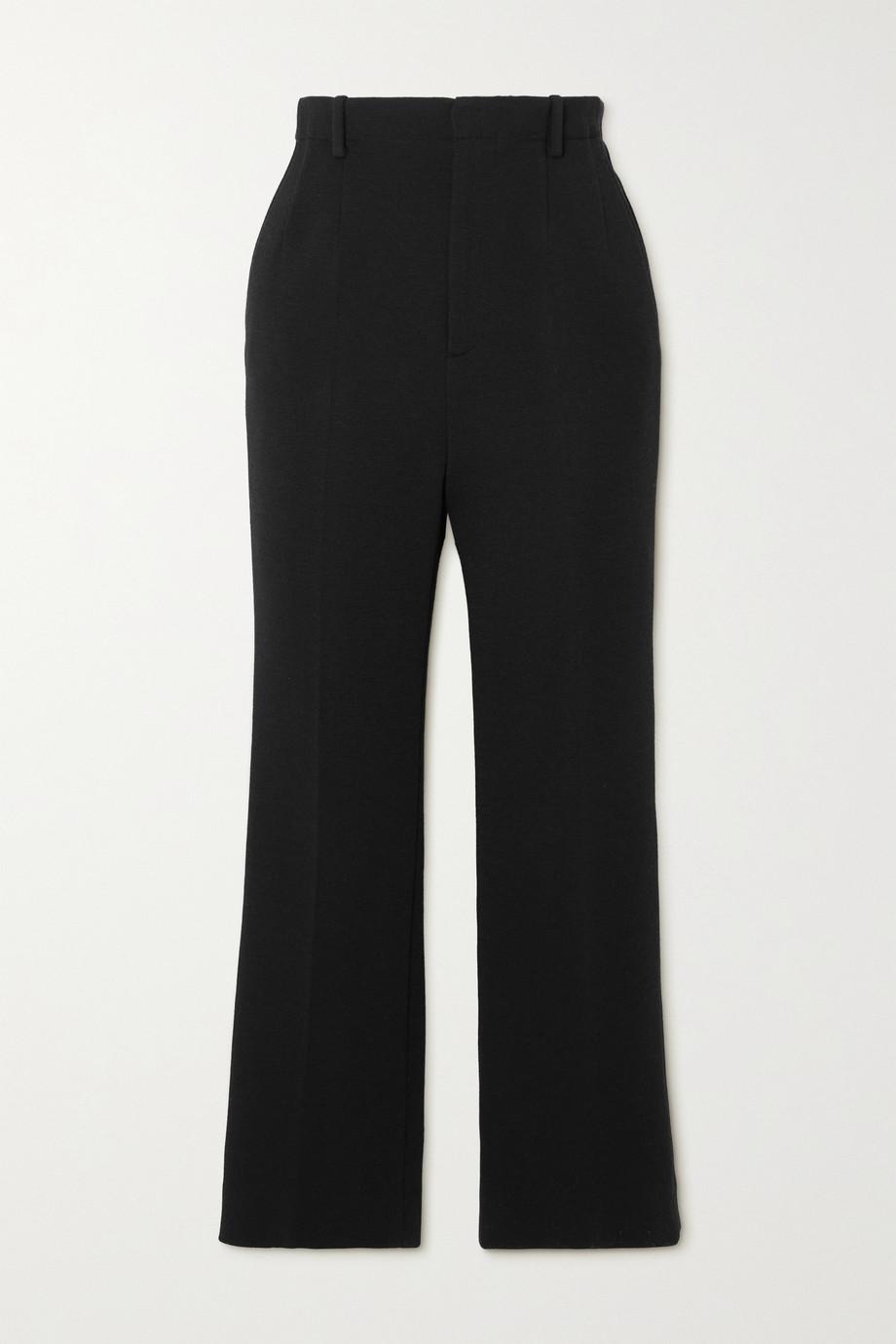 SAINT LAURENT Pantalon évasé en laine mélangée