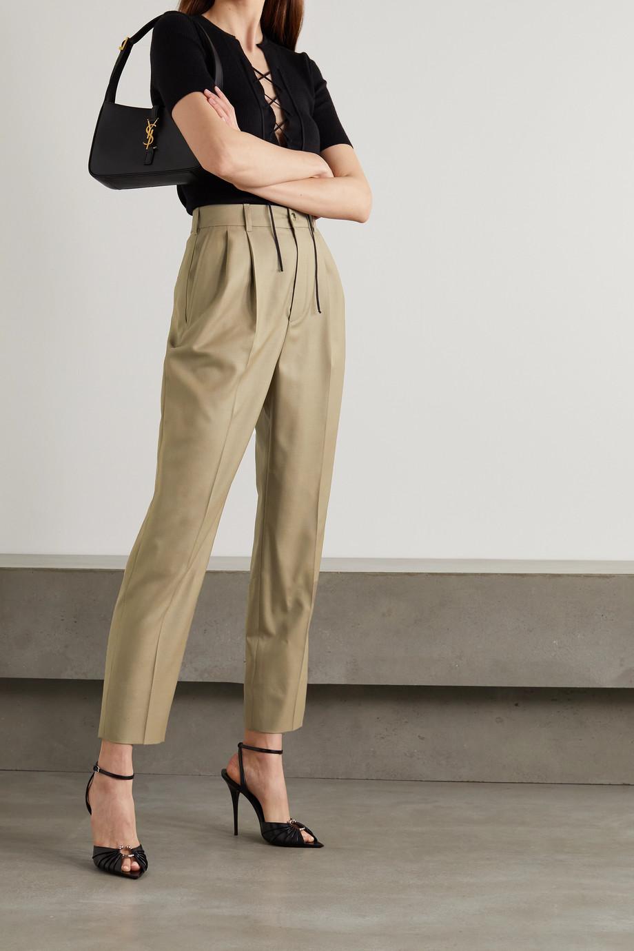 SAINT LAURENT Pantalon droit en serge de laine à plis