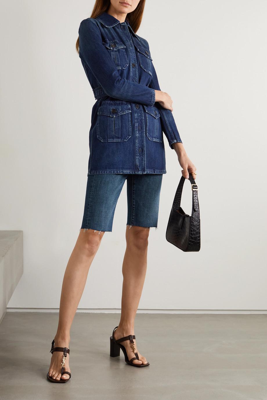 SAINT LAURENT Jeansshorts mit Fransen