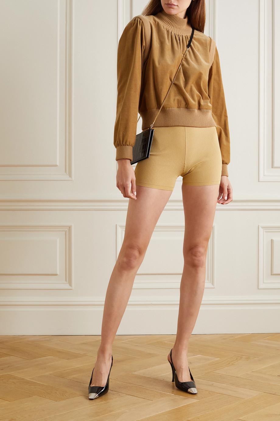 SAINT LAURENT Rider embellished ribbed-knit shorts
