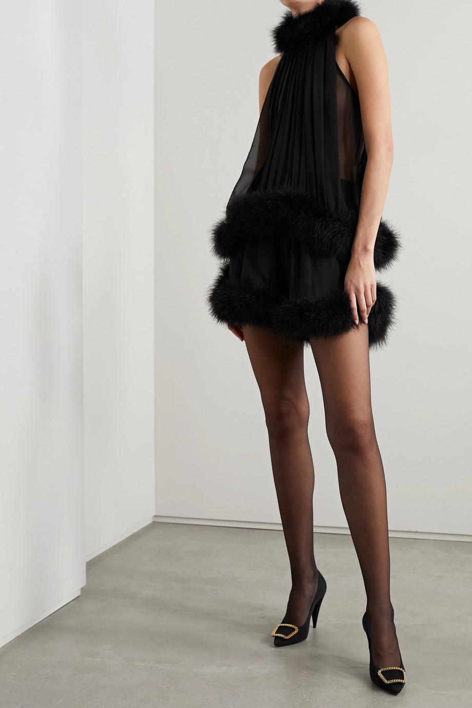 SAINT LAURENT Feather-trimmed silk-chiffon shorts