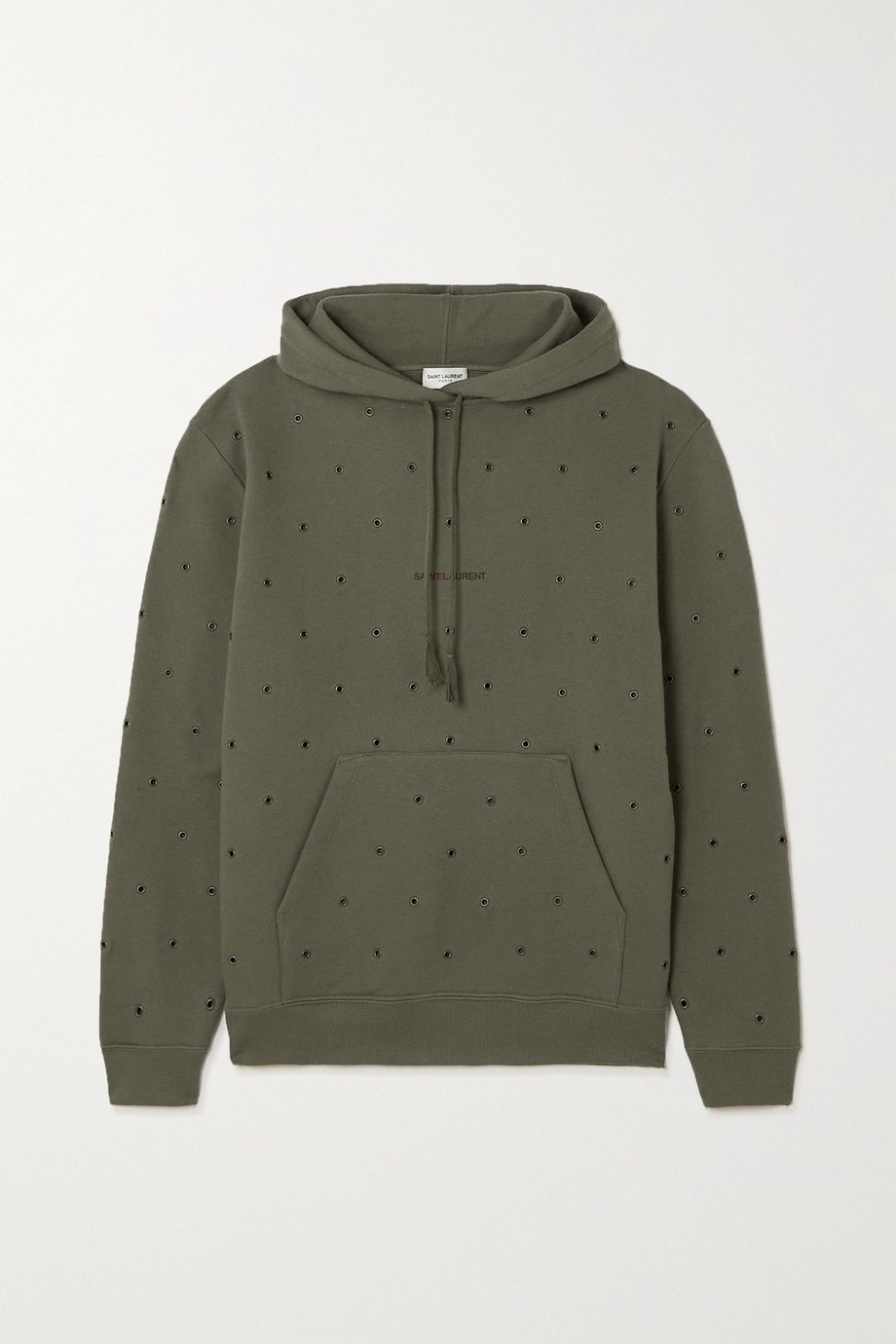 SAINT LAURENT Eyelet-embellished printed cotton-jersey hoodie
