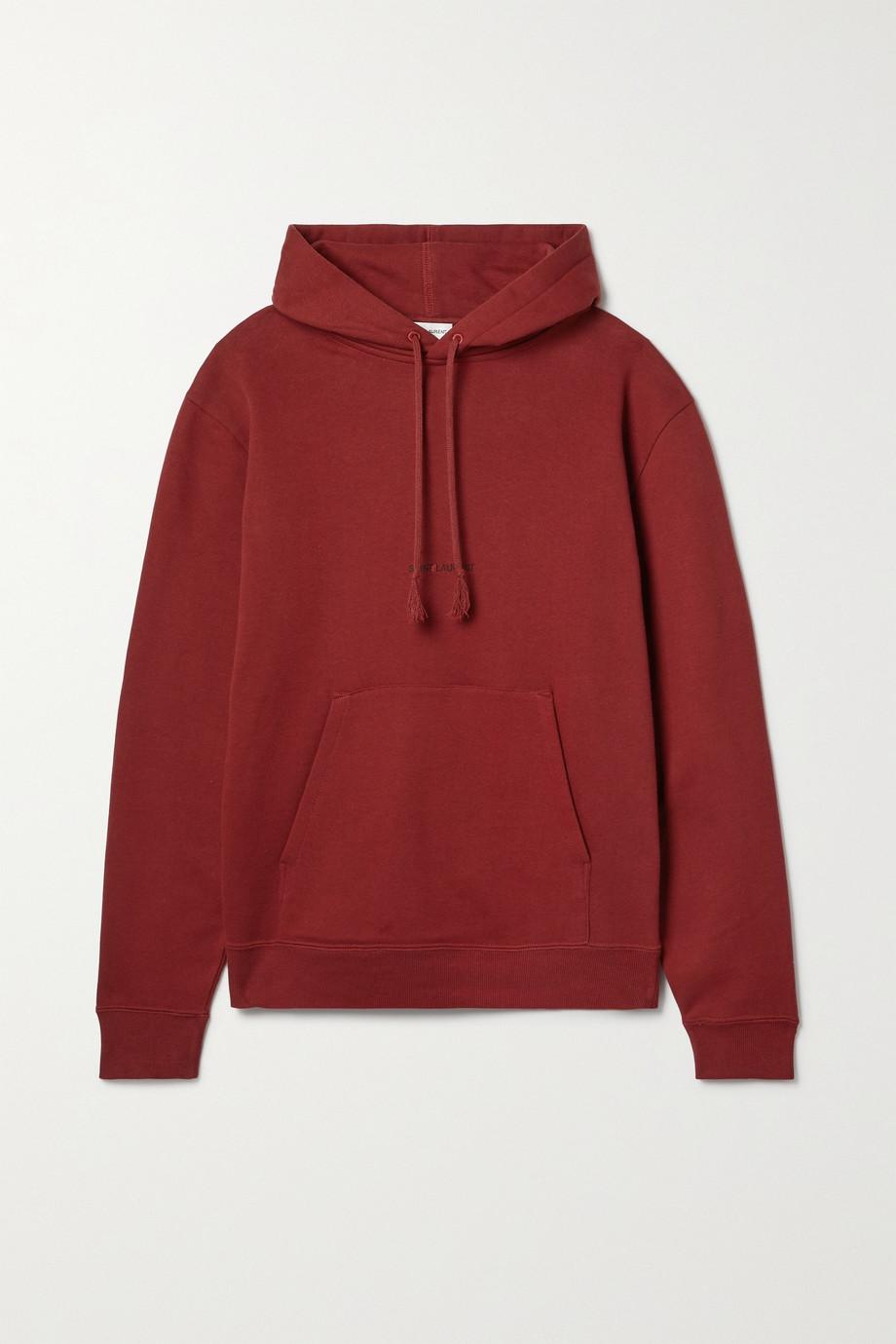 SAINT LAURENT Printed cotton-jersey hoodie