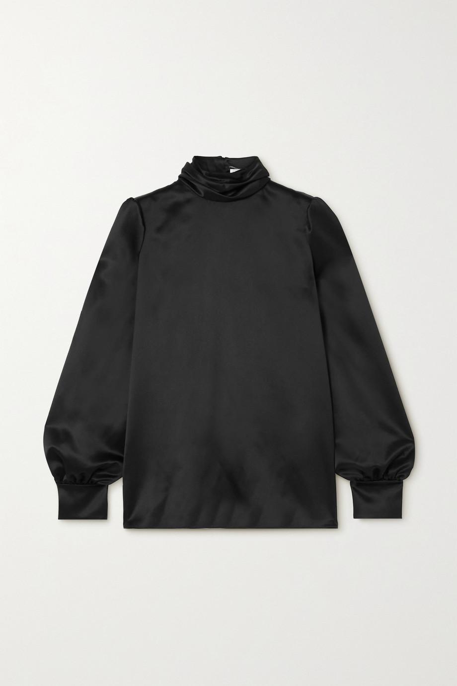SAINT LAURENT Bluse aus Seidensatin mit Stehkragen