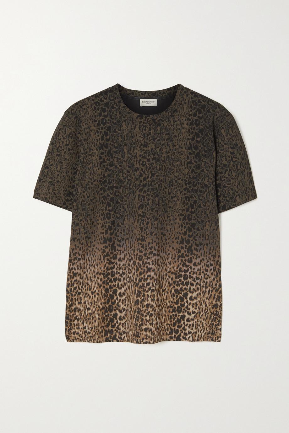 SAINT LAURENT T-shirt en jersey de coton à imprimé léopard ombré