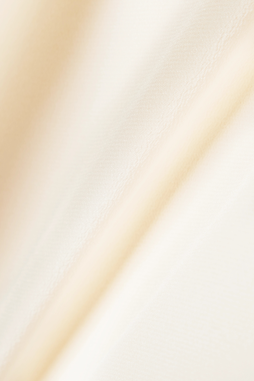 SAINT LAURENT Chemisier à col noué en crêpe de Chine de soie à volants