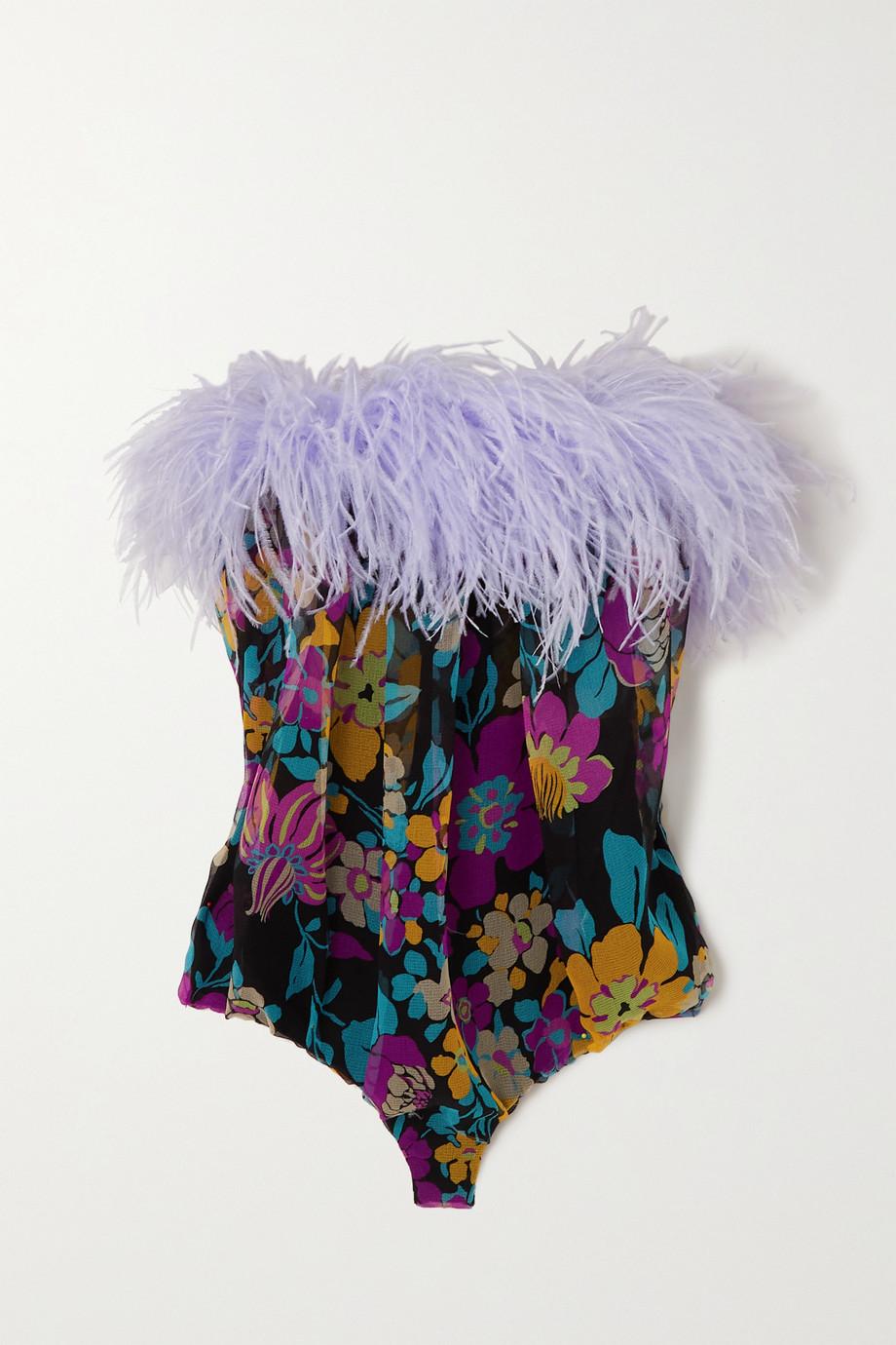 SAINT LAURENT Feather-trimmed floral-print silk-organza bodysuit