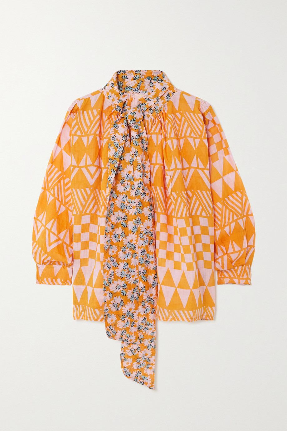 Yvonne S Pussy-bow printed linen blouse