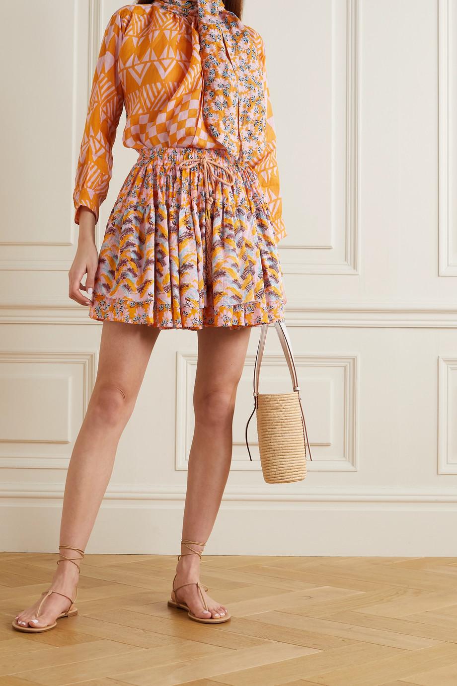 Yvonne S Minirock aus bedrucktem Baumwoll-Voile mit Troddeln