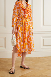 Yvonne S Belted ruffled printed linen midi dress