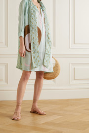 Yvonne S Pussy-bow printed linen dress