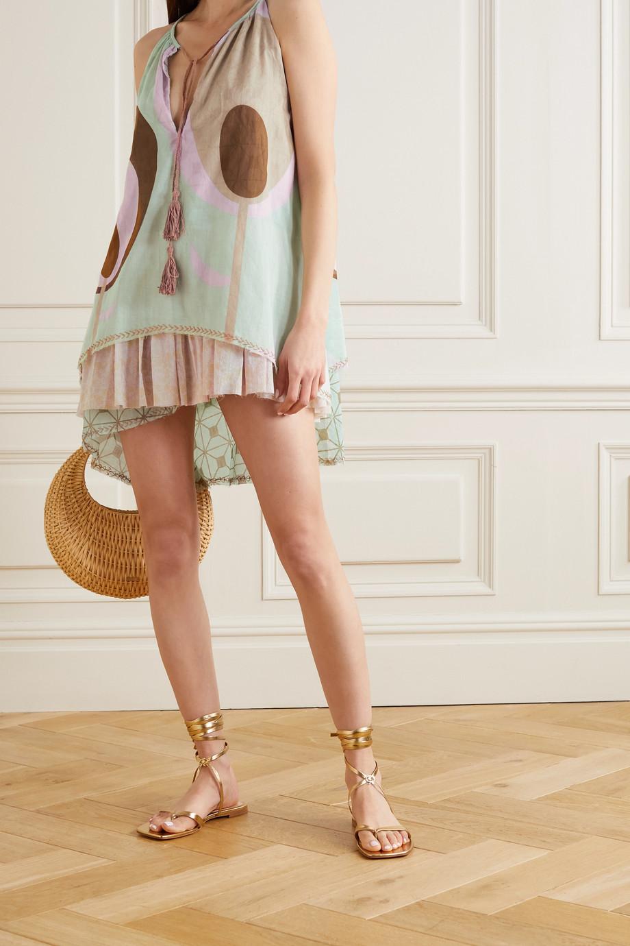 Yvonne S Lollipop tasseled printed cotton-voile mini dress