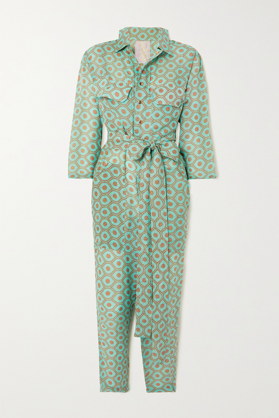 Yvonne S Belted printed linen jumpsuit