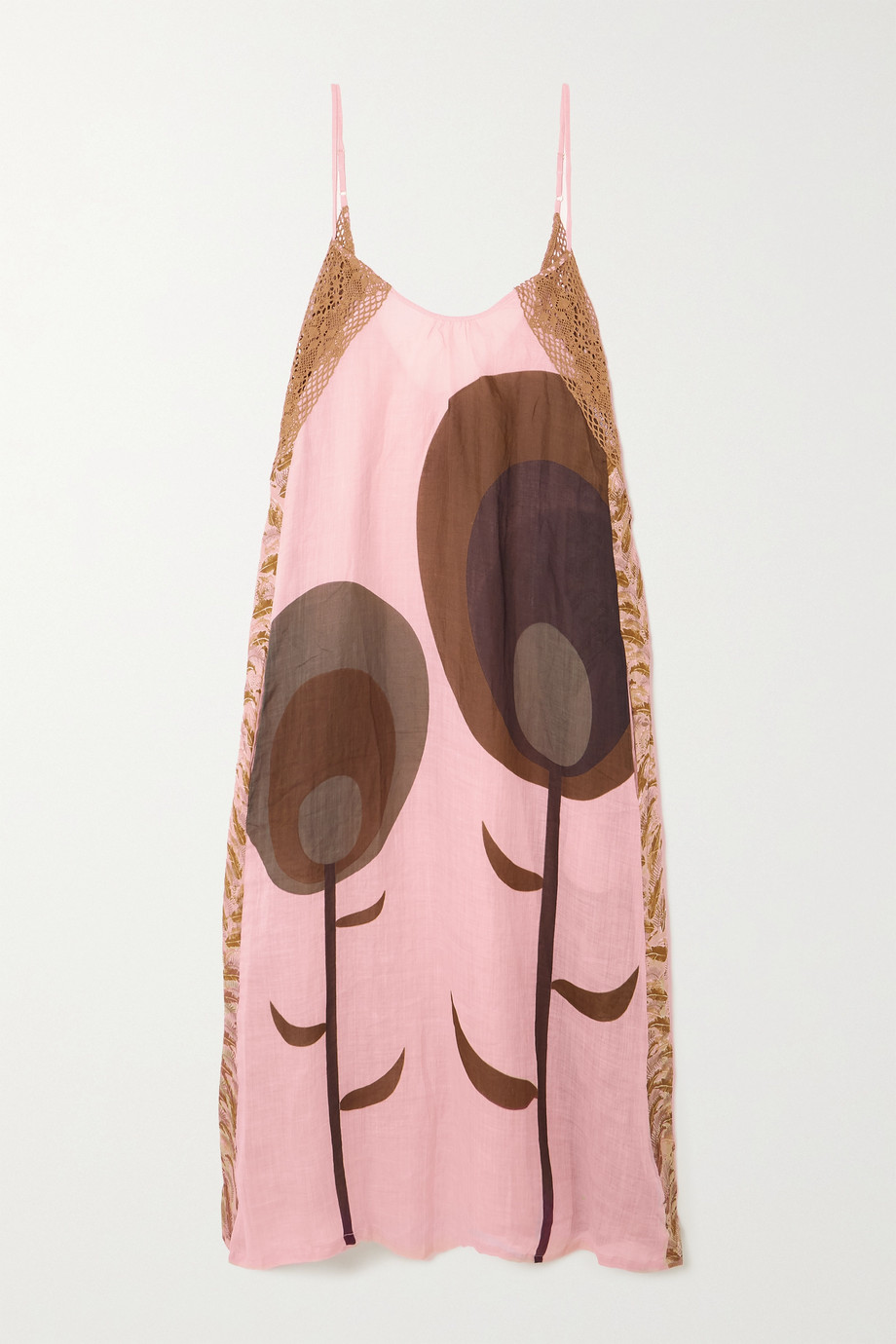 Yvonne S Crochet-trimmed printed linen maxi dress