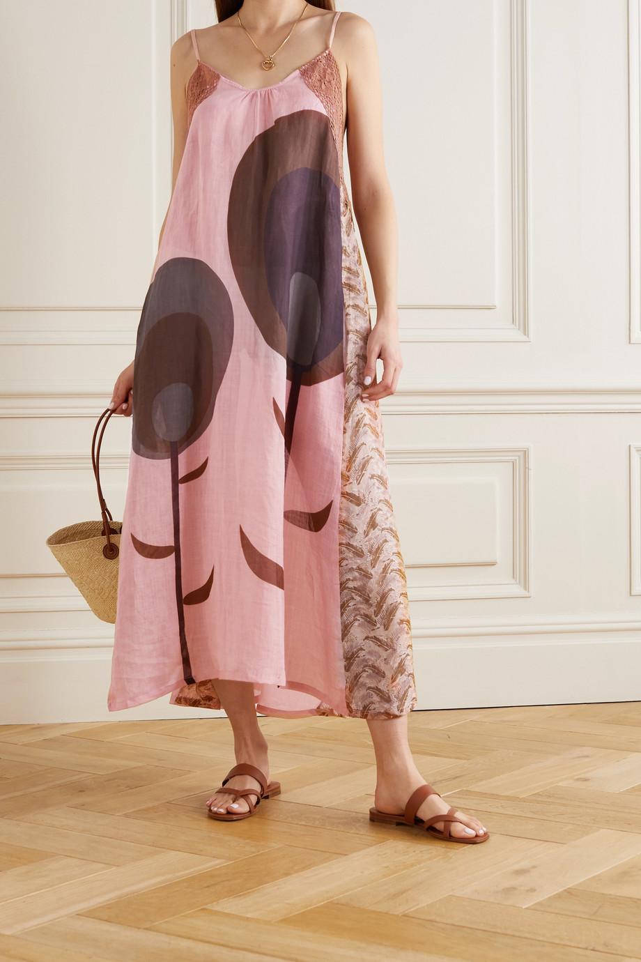 Yvonne S Robe longue en lin imprimé à finitions en crochet