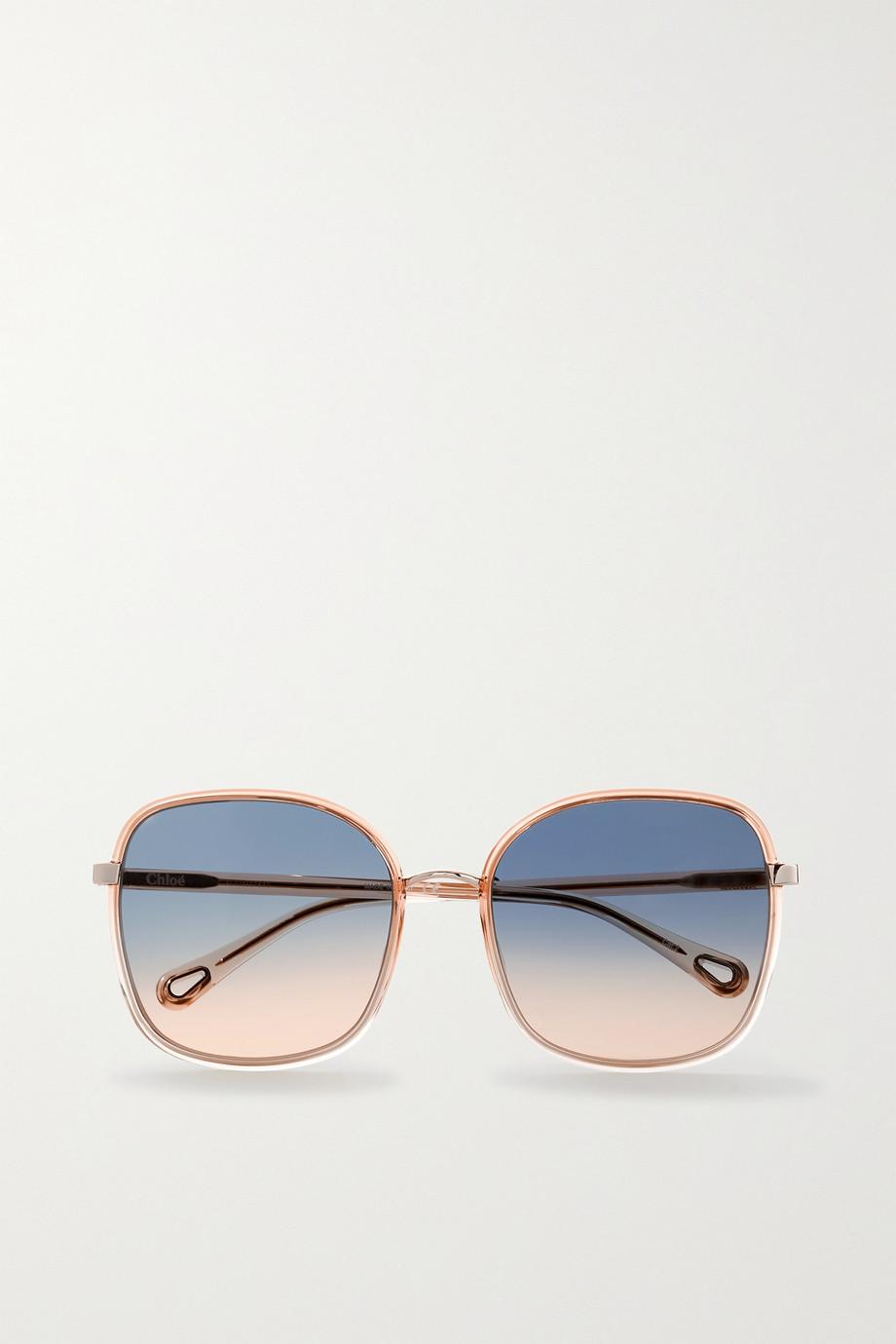 Chloé Oversized-Sonnenbrille mit eckigem Rahmen aus Azetat und goldfarbenen Details