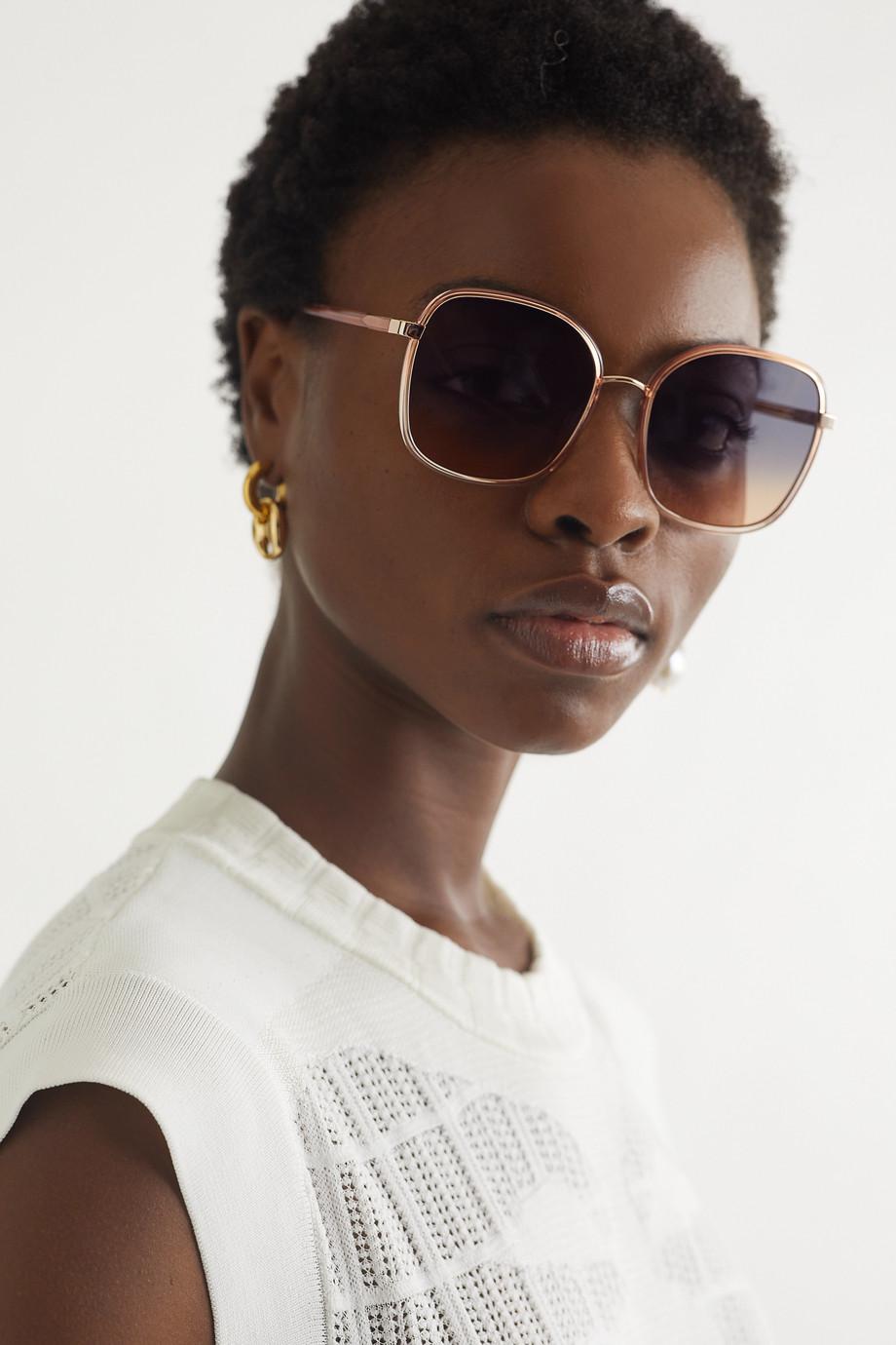 Chloé Oversized square-frame acetate and gold-tone sunglasses